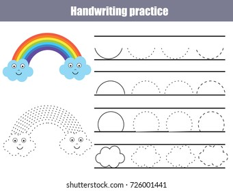 Handwriting practice sheet. Educational children game, printable worksheet for kids. Writing training printable worksheet with arc shapes and cute rainbow