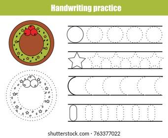 Handwriting practice sheet. Educational children game, tracing circles and stars. Writing training printable worksheet Christmas theme