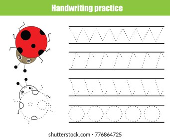 Handwriting practice sheet. Educational children game, tracing circles and zig zag. Writing training printable worksheet