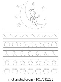 Handwriting practice sheet for kids, good night teddy bear. Printable worksheet. Coloring page or book.   Practicing fine motor skills, educational game for children.