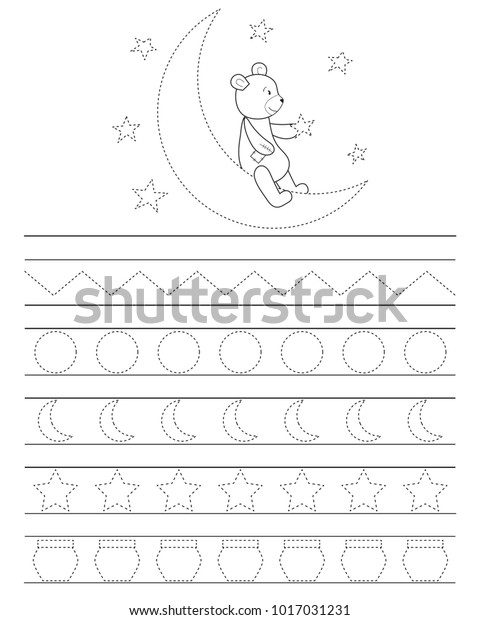 Handwriting Practice Sheet Kids Good Night Stock Vector ...