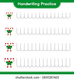 Handwriting practice. Tracing lines of Candy Canes with Ribbon. Educational children game, printable worksheet, vector illustration