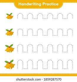 Handwriting practice. Tracing lines of Christmas Bell. Educational children game, printable worksheet, vector illustration