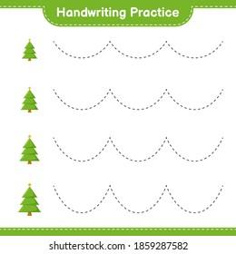 Handwriting practice. Tracing lines of Christmas Tree. Educational children game, printable worksheet, vector illustration