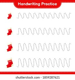 Handwriting practice. Tracing lines of Christmas Stocking. Educational children game, printable worksheet, vector illustration
