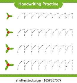 Handwriting practice. Tracing lines of Holly Berries. Educational children game, printable worksheet, vector illustration