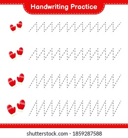 Handwriting practice. Tracing lines of Mittens. Educational children game, printable worksheet, vector illustration