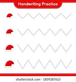 Handwriting practice. Tracing lines of Santa Hat. Educational children game, printable worksheet, vector illustration