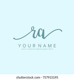 Handwriting R & A initial logo template vector