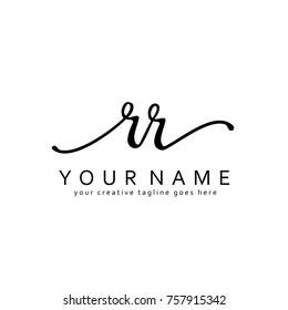 Handwriting R & R initial logo template vector