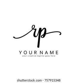 Handwriting R & P initial logo template vector