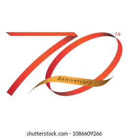 Handwriting ribbon style celebrating, anniversary of number 70th year, Luxury duo tone red and gold.