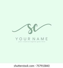 Handwriting S & C initial logo template vector