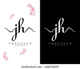 handwriting script jh/hj letter logo vector