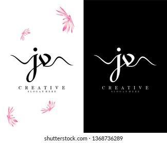 handwriting script jv/vj letter logo vector