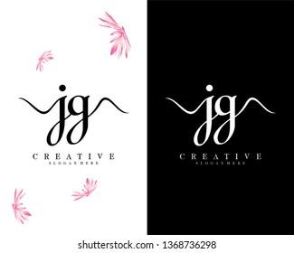 handwriting script letter jg/gj logo vector