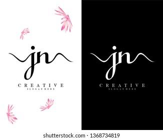 handwriting script letter jn/nj logo vector