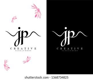 handwriting script letter jp/pj logo vector