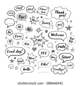 Handwriting  set of speech bubbles with dialog words: Hi, Love, Sorry, Welcome, Bye. Vector illustration. Hand drawn