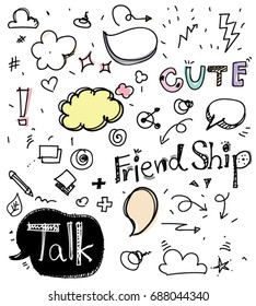 Handwriting set of speech bubbles with dialog words: Friend Ship, Talk, Cute, Vector illustration. Hand drawn colorful