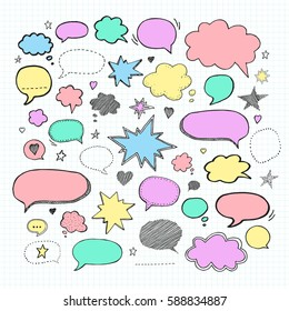 Handwriting  set. Vector illustration. Hand drawn Set picture blank template comic text speech chat bubble