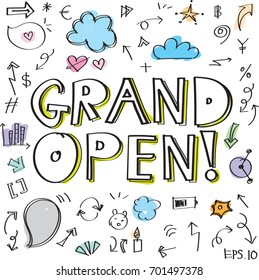 Handwriting set of words: grand open, speech bubbles and Other arrows, Vector illustration. Hand drawn colorful