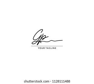 Handwriting Signature Letter Gp Design Logo