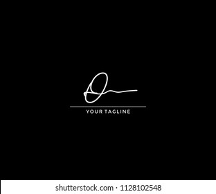 Handwriting Signature Letter O Design Logo