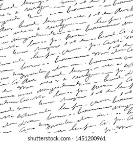 Handwritten abstract text seamless pattern, vector monochrome script background