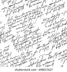 Handwritten abstract text wallpaper. Seamless monochrome vector pattern