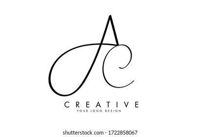 Handwritten AC A C Letters Logo Design Vector Illustration.