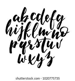 Handwritten Alphabet, script font, Elegance Calligraphic vector Brushpen, brush modern calligraphy cursive typeface. Typographic set Hand Lettering and Typography Designs Logo, Packaging, card, Poster