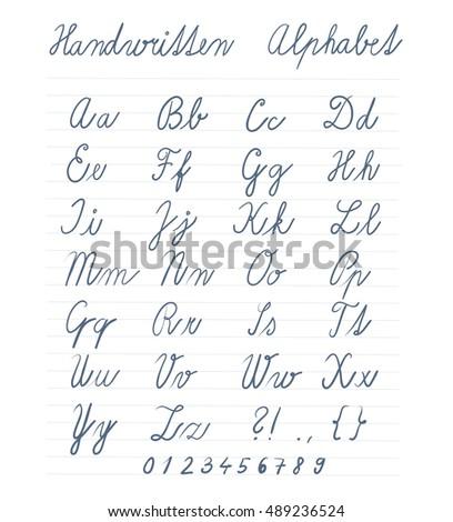 Handwritten Alphabet Symbols Numbers Vector Illustration Stock