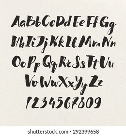 Handwritten alphabet written with brush pen. ABC poster. Calligraphic alphabet  poster. Letters and numbers