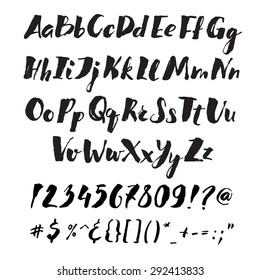 Handwritten alphabet written with brush pen. ABC poster. Calligraphic alphabet  poster. Letters, numbers and punctuation marks. Full version.