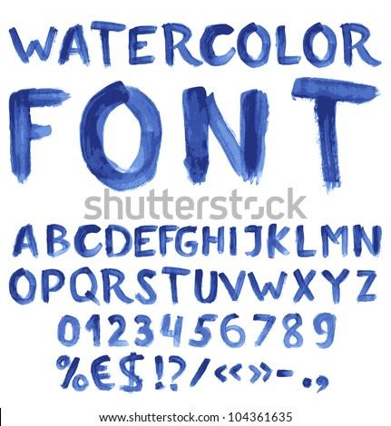 Handwritten Blue Watercolor Alphabet Numbers Symbols Stock Vector