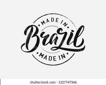 Handwritten Brazil logo, lettering, calligraphy. Logos for stamp, banner, poster, postcard, website. Vector template eps 10