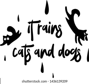 Handwritten brush expression it rains cats and dogs with elements for t shirts