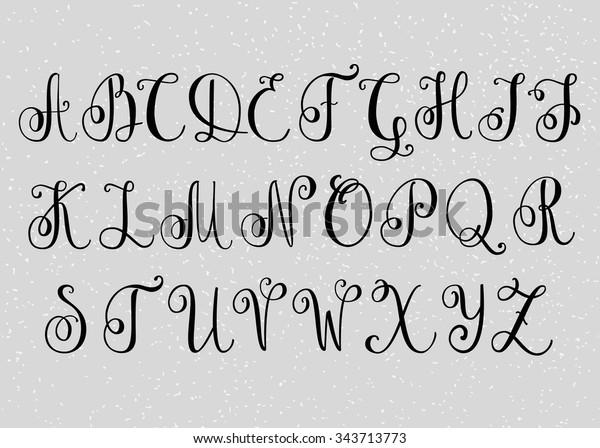 Handwritten Brush Flourish Font Capital Letters Stock Vector ...