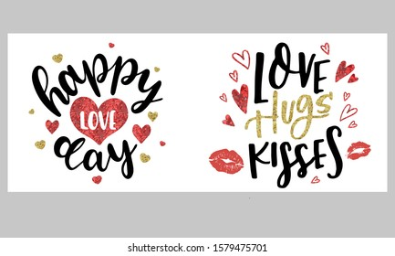 Handwritten brush lettering with red lips of a woman. Vector lipstick kisses isolated on a white backgroundKiss and Muah phrases for Valentine's Day. Typography poster, card, label, banner design