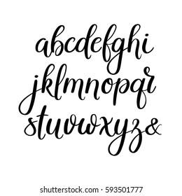 Handwritten Brush Style Letters. Modern Calligraphy. Hand Lettering Vector Alphabet. Hand Drawn Font.