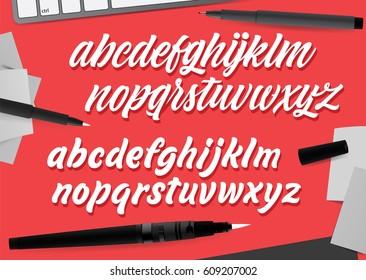Handwritten brush style modern calligraphy cursive fonts. Calligraphy alphabet. Cute calligraphy letters. For postcard, logo design, poster decorative graphic design. Type vector.