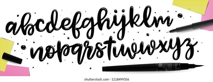 Handwritten brush style modern cursive font. Ink lettering. Vector illustration.