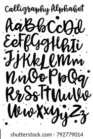 Handwritten brush style modern cursive font isolated on white background. Handmade alphabet. Vector illustrations.