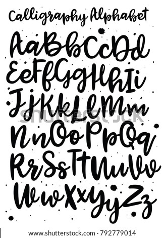 Handwritten Brush Style Modern Cursive Font Stock Vector ...