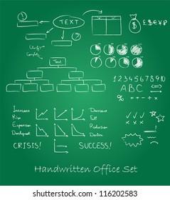 Handwritten business set. On a blackboard
