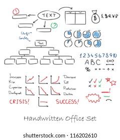 Handwritten business set. On a paper