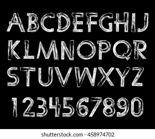 Handwritten calligraphic. Graphic vector alphabet. The black letters and numbers on a white background.Chalk font.