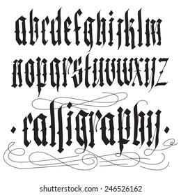 Handwritten calligraphy alphabet vector set. Blackletter gothic style