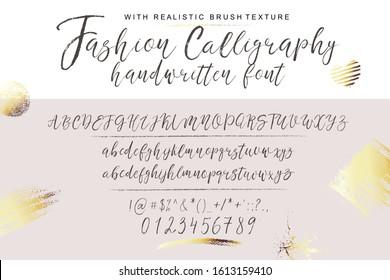 Handwritten calligraphy elegant font.  Alphabet for wedding card, invitation, business style, identity, logo.